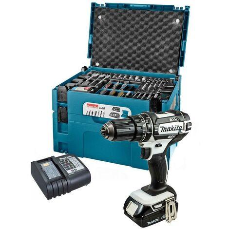 Makita DHP482SY 18v Cordless Combi Hammer Drill + 66 Piece Screwdriver Bit Set