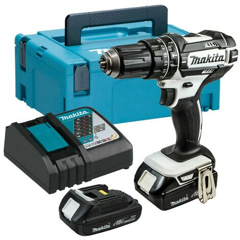 Makita DHP482YWJ 18v LXT Combi Hammer Drill White - 2 x Batteries, Charger, Case