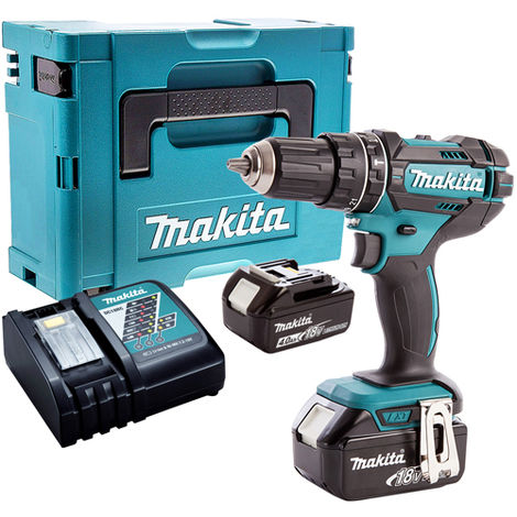 Makita DHP482Z 18V Combi Drill with 2 x 4.0Ah Batteries & Charger in Case:18V
