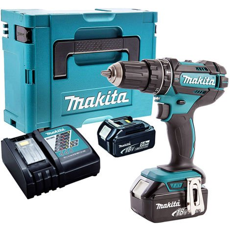 Makita DHP482Z 18V LXT Combi Drill with 2 x 5.0Ah Batteries & Charger in Case:18V