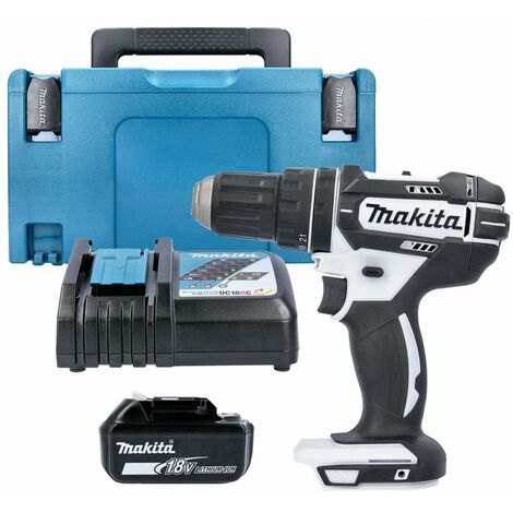 Makita DHP482Z White 18V Combi Drill + 1 x 4Ah Battery, Charger & Type 3 Case