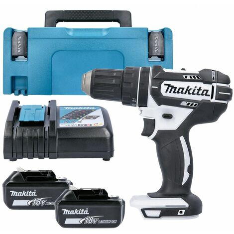 Makita DHP482Z White 18V Combi Drill With 2 x 5.0Ah Batteries, Charger & Type 2 Case