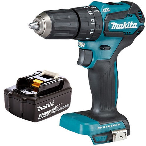 Makita DHP483 18V Brushless Hammer Drill Body with 3.0Ah Battery:18V