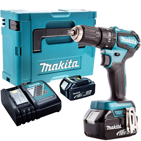 Makita DHP483Z 18V Brushless Combi Hammer Driver Drill with 2 x 5.0Ah Batteries & Charger in Case:18V