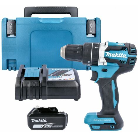 Makita DHP484 18v Brushless Combi Drill With 1 x 5.0Ah Battery, Charger, Case & Inlay