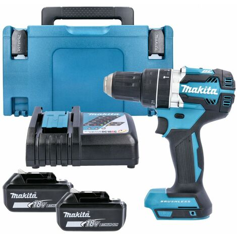 Makita DHP484 18v Brushless Combi Drill With 2 x 5.0Ah Batteries, Charger, Case & Inlay