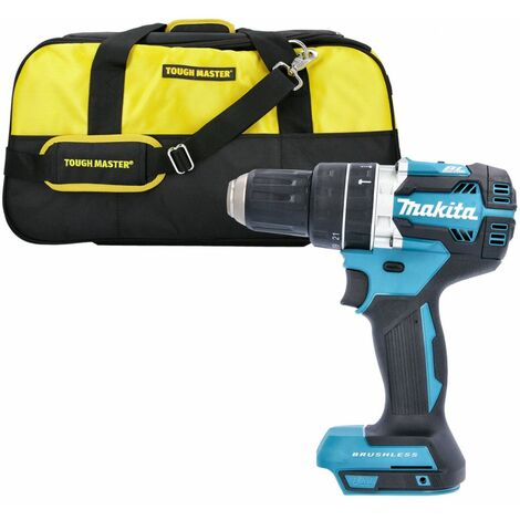 "Makita DHP484 18V Brushless Combi Drill With 22"" 7 Pockets Tool Bag"