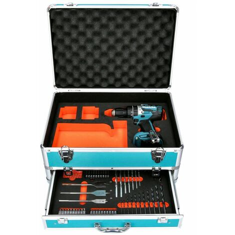 Makita DHP484 18v Brushless Combi Drill With 70pc Accessory Set in Aluminum Case