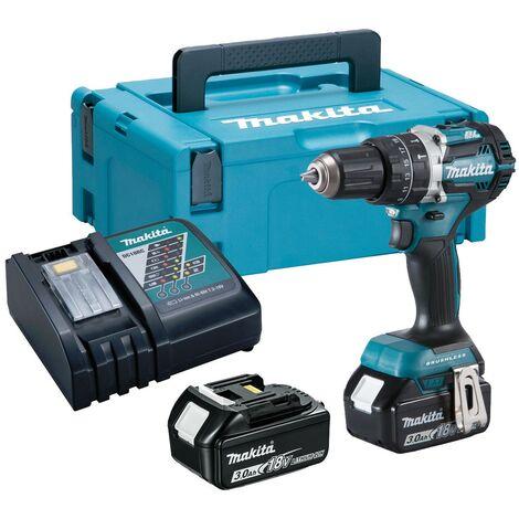 Makita DHP484RFJ 18V LXT BRUSHLESS Combi Hammer Drill - 2 x 3.0ah Batteries