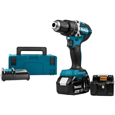 Makita DHP484RTJ Perceuse visseuse à percussion à batteries 18V Li-Ion set (2x batterie 5,0Ah) dans MAKPAC - moteur sans charbon