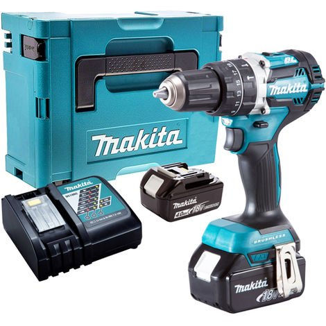 Makita DHP484Z 18V Brushless Combi Drill with 2 x 4.0Ah Batteries & Charger in Case:18V
