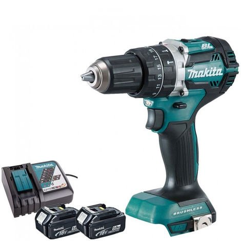 Makita DHP484Z 18V Brushless Combi Drill with 2 x 5.0Ah Batteries & Charger:18V