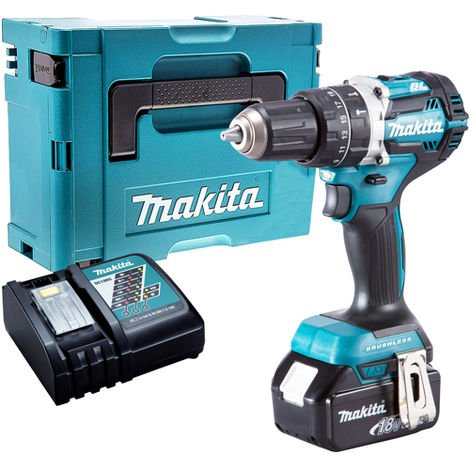 Makita DHP484Z 18V Brushless Combi Hammer Drill Driver with 1 x 5.0Ah Battery & Charger in Case:18V