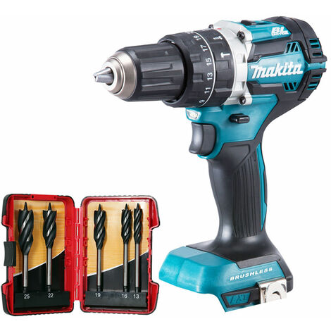 Makita DHP484Z 18V Brushless Combi Hammer Drill with 5 Piece Auger Drill Bit Set