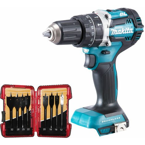 Makita DHP484Z 18V Brushless Combi Hammer Drill with 8 Piece Flat Drill Bit Set