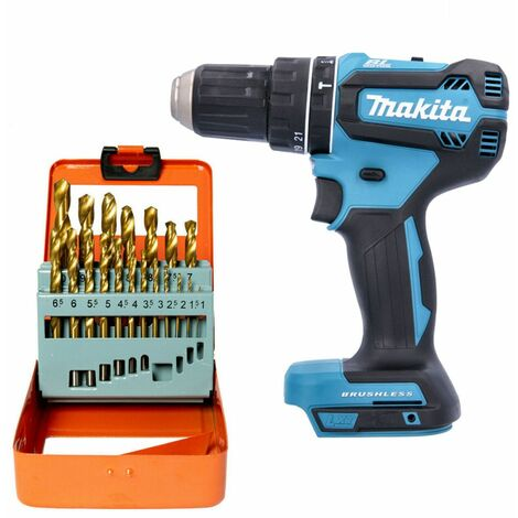 Makita DHP485 18V Brushless Combi Drill With 19 Piece HSS Twist Drill Bit Set