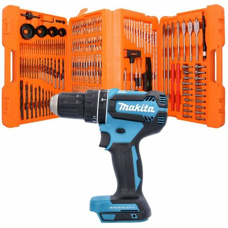 Makita DHP485 18V Brushless Combi Drill With 217 Piece Drill & Screwdriver Bit Set