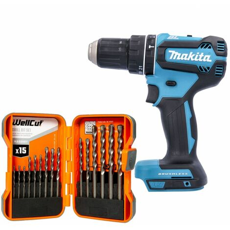 Makita DHP485 18V LXT Brushless Combi Drill With 15 Piece Masonry Drill Bit Set