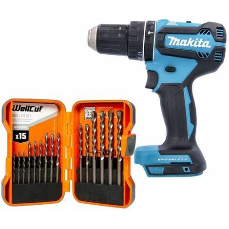 Makita DHP485 18V LXT Brushless Combi Drill With 15 Piece Masonry Drill Bit Set
