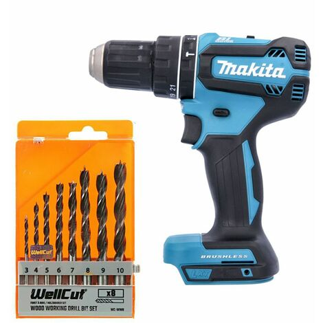 Makita DHP485 18V LXT Brushless Combi Drill With 8 Piece Wood Drill Bit Set