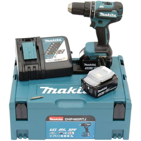 Makita DHP485RTJ 18V LXT Brushless Combi Drill Kit. 2x 5.0Ah Battery Packs
