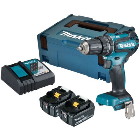 Makita DHP485RTJ 18V LXT Brushless Combi Drill with 2x5.0Ah Batteries & Charger in Case:18V