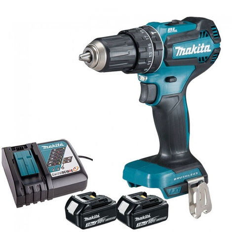 Makita DHP485Z 18V Brushless Combi Drill with 2 x 3.0Ah Batteries & Charger