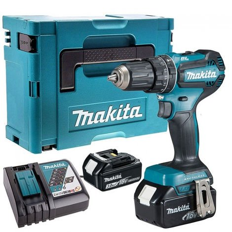 Makita DHP485Z 18V Brushless Combi Drill with 2 x 3.0Ah Batteries & Charger in Case