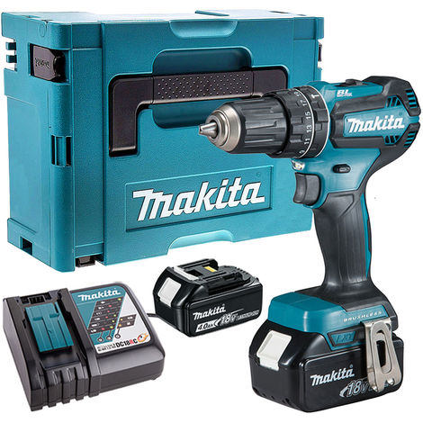 Makita DHP485Z 18V Brushless Combi Drill with 2 x 4.0Ah Batteries & Charger in Case