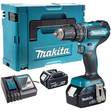Makita DHP485Z 18V Brushless Combi Drill with 2 x 5.0Ah Batteries & Charger in Case:18V