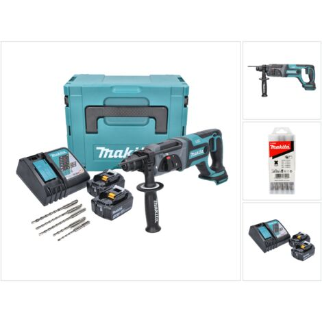 Makita DHR 241 RFJ Martillo combinado a batería 18V con SDS-Plus en Makpac 3 + 2x Batería BL 1830 3,0 Ah + Cargador DC 18 RC + Juego de 5 brocas SDS-Plus para martillo