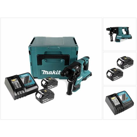 Makita DHR 280 RTJ Perforateur-burineur sans fil Brushless SDS-PLUS + Coffret MakPac + 2 x Batteries 18 V - 5 Ah / 5000 mAh + Chargeur