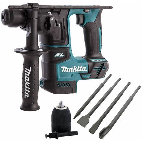 Makita DHR171Z 18V Brushless Hammer Drill & 4 Piece Chisel Set + Keyless Chuck