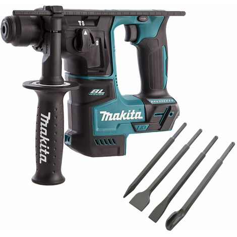 Makita DHR171Z 18V SDS+ Brushless Rotary Hammer Drill with 4 Piece Chisel Set