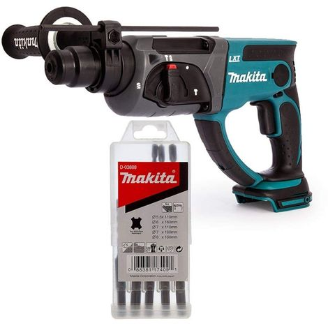 Makita DHR202 18V Cordless SDS+ Rotary Hammer Drill With Makita D-03888 Bit Set