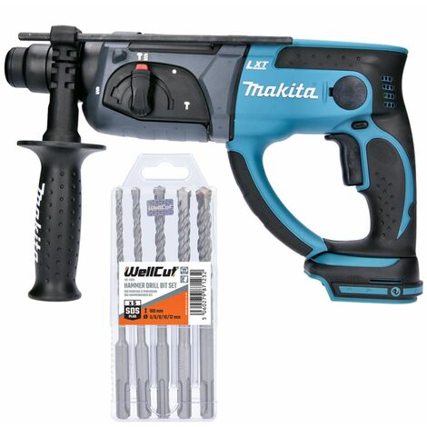 Makita DHR202 18V LXT SDS Plus Hammer Drill With 5 Piece SDS Drill Bit Set
