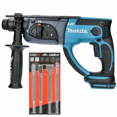 Makita DHR202 18V SDS Plus Hammer Drill With 4 Piece SDS Chisel Set