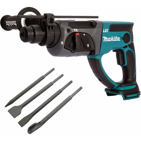 Makita DHR202Z 18V Cordless SDS+ Rotary Hammer Drill with 4 Piece Chisel Set