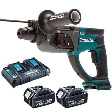 Makita DHR202Z 18V Rotary Hammer Drill with 2 x 4.0Ah Batteries & Dual Port Charger:18V