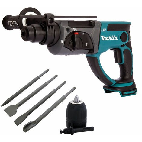Makita DHR202Z 18V SDS+ Rotary Hammer with 4 Piece Chisel Set + Keyless Chuck