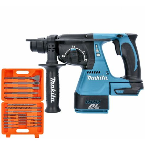 Makita DHR242 18V Brushless SDS+ Rotary Hammer Drill With 17 Piece SDS Drill Bit