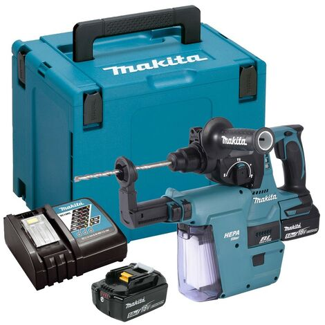 Makita DHR242RTJW 18v LXT Brushless Rotary Hammer Drill + Dust Extractor 5.0ah