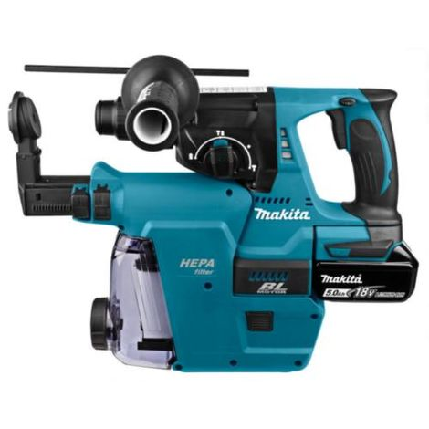 Makita DHR242RTJW 18v SDS Rotary Hammer + DX06 Dust Extraction Unit