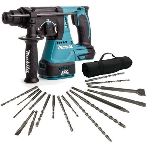 Makita DHR242Z 18v LXT SDS Rotary Hammer Drill + 17 Piece Bit Set Point Chisel