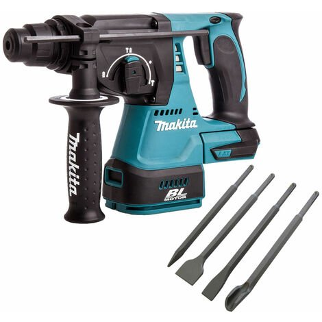Makita DHR242Z 18V SDS+ Brushless 24mm Rotary Hammer Drill & 4 Piece Chisel Set
