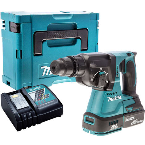 Makita DHR242Z 18V SDS+ Brushless Hammer Drill with 1 x 5.0Ah Battery & Charger in Case:18V