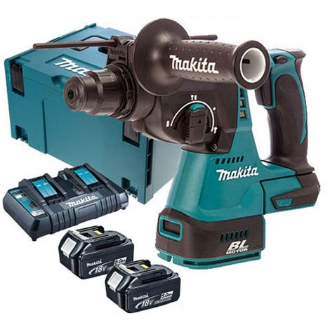 Makita DHR242Z 18V SDS+ Brushless Hammer Drill with 2 x 5.0Ah Battery & Twin Port Charger in Case