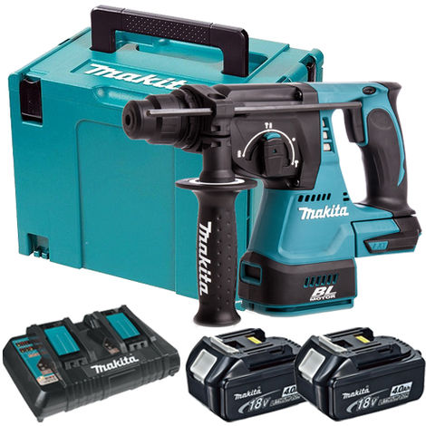 Makita DHR242Z 18V SDS+ Brushless Rotary Hammer Drill with 2 x 4.0Ah Battery & Dual Port Charger in Case