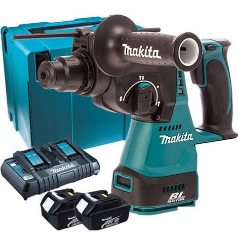 Makita DHR242Z 18V SDS+ Rotary Hammer Drill with 2 x 3.0Ah Battery & Dual Port Charger in Case