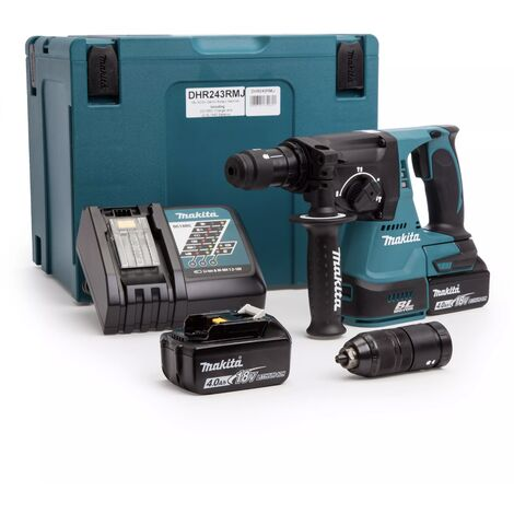 Makita DHR243RMJ 18v LXT Rotary Hammer with QCC and 2 x 4.0Ah
